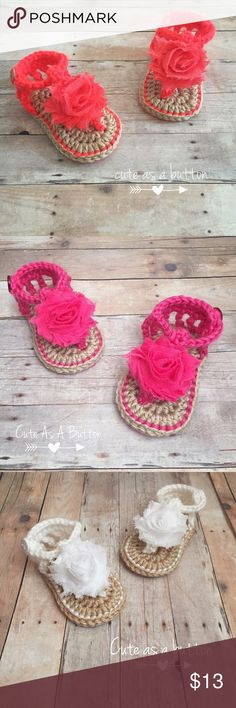 BAby crochet summer sandals Crochet summer sandals 0-6 months  Let me know what color you'd like Shoes Sandals & Flip Flops