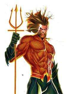Aquaman #dc #dcuniverse Comics Universe, Aquaman, Deadpool, Dc Comics, Watercolor, Art, Pen And Wash, Art Background, Watercolor Painting