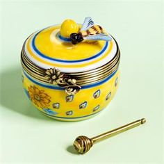 Limoges Provencal Bee with Honey Jar Box