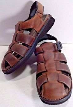 ROCKPORT Size 10 Brown Fisherman Caesar Woven Sandals Closed Toe Shoes EU 44 #Rockport #Fisherman