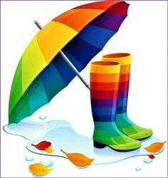 Rainbow Umbrella and Rainboots Love Rainbow, Taste The Rainbow, Rainbow Art, Over The Rainbow, Rainbow Colors, Rainbow Stuff, World Of Color, Color Of Life, Rainbow Connection