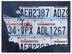 The state of Washington is beautifully depicted in Trademark Fine Art Washington License Plate Map Canvas Wall Art. This fun piece of art has a big of edgy style and infuses bright colors into your space. Old License Plates, License Plate Art, Licence Plates, Map Canvas, Canvas Wall Art, Canvas Prints, Canvas Size, Washington Map, Name Design