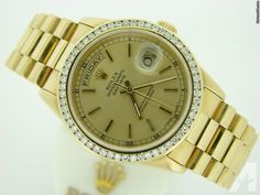 Rolex Gold Day Date President Double Quickset Diamond Rolex Presidential, Day Date President, High End Watches, Gold Rolex, Rolex Day Date, Gold Watch, Rolex Watches, 18k Gold, Presidents