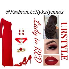 A fashion look created by kellykalymnos featuring Red Drop Earrings, Cushion-Cut Lab-Created Ruby and Diamond Accent Ring in Gold, Suede Pointed-Toe Pumps, Romona Keveža One Shoulder Gown. Browse and shop related looks. Red Fashion, Fashion Looks, Romona Keveza, One Shoulder Gown, Dress Styles, Pointed Toe Pumps, Lady In Red, Gowns, Dresses