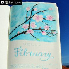 Beautiful February page from @lifeinabujo (with @repostapp) ・・・ Repost @lifeinabujo: Good morning bujo-friends! I was reading the letters from Van Gogh to his brother and he told him that he painted the almond blossoms with a patience that never had before. I'm not Van Gogh but he is in my heart so deeply because I feel related to him and I've never had patience with myself. I promised myself that I would had patience doing this one and that's what I did (not easily). I'm looking for any…