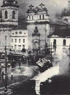 Massive riots in Bogotá, Colombia, on 9 April, The 10 hour riot left 3000 to 5000 dead. Post War Era, Nuclear Power, Old City, Study Abroad, World War Ii, South America, 1940s, Cities, Asia