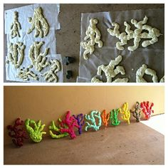Coral reef decor using foam spray.