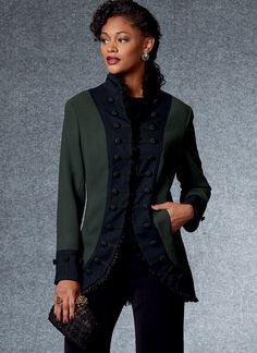 Modern Sewing Patterns, Vogue Sewing Patterns, Sewing Ideas, Duster Jacket, Jacket Dress, Mandarin Collar Jacket, Steampunk Costume, Jacket Pattern, Jackets For Women