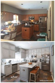 Glazed Gray Cabinets- Bella Tucker Decorative Finishes Why I recommend that you hire a faux finish painter or decorative artist to paint your cabinets. Painted kitchen cabinets have become a huge trend in the design industry. Kitchen Cabinets Painted Before And After, Black Kitchen Cabinets, Kitchen Paint, Kitchen Dining, Kitchen Decor, Gray Cabinets, Kitchen Furniture, Kitchen Cabinetry, Kitchen Remodel Before And After