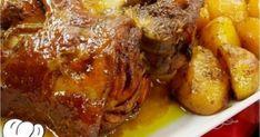 Εξαιρετικά πεντανόστιμο κότσι με μυρωδικά και μέλι στη γάστρα Meat Cooking Times, Cooking For One, Sweets Recipes, Meat Recipes, Cooking Recipes, Cooking Games, Food N, Food And Drink, Greek Menu