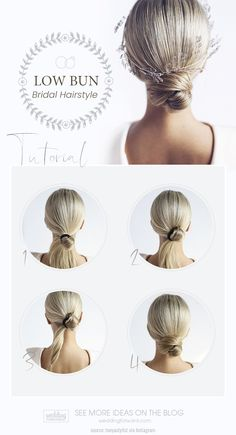 Wedding Bun Hairstyles ★ wedding bun hairstyles low bun Bun hairstyles are popular wedding hairdos, and look good for different hair length. See our trendy collection of wedding bun hairstyles. Wedding Bun Hairstyles, Messy Bun Hairstyles, Hairdo Wedding, Wedding Bride, Wedding Hairstyles Tutorial, Beach Hairstyles, Hairstyles Men, Curly Hair Styles, Natural Hair Styles
