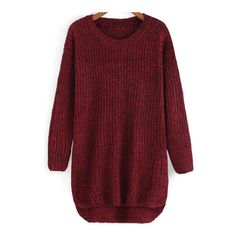 SheIn(sheinside) Round Neck Dip Hem Knit Sweater ($14) ❤ liked on Polyvore featuring tops, sweaters, burgundy, pullover sweater, long sleeve pullover, red top, sweater pullover and long sleeve sweaters