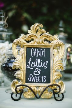#signs, #dessert-table  Photography: Closer To Love Photography - www.closertoloveblog.com/  Read More: http://www.stylemepretty.com/california-weddings/2014/08/11/intimate-rustic-garden-wedding-at-rengstorff-house/