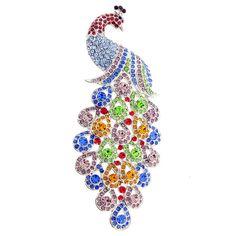 Large Multicolor Peacock Bird Crystal Pin Brooch 1000013 от pinxus