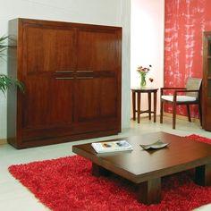 Mueble de 4 puertas y mesa de centro MILANO de Bambó Blau. De madera de teca acabado Basic. Estilo salón colonial.
