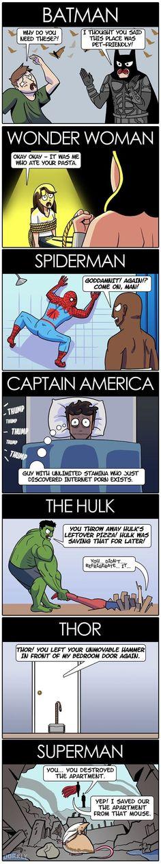 Having superheroes as roommates