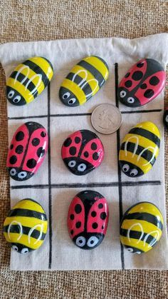Bee Rocks, Ladybug Rocks, Ladybug Nails, Lady Bug Painted Rocks, Painted Rocks Kids, Rock Crafts, Arts And Crafts, Diy Crafts, Art For Kids