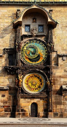European photo of astronomical clock in the Old Town Square of Prague, Czech…