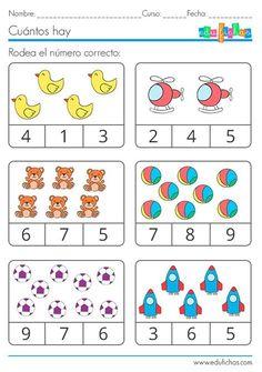 Preschool Math Games, Printable Preschool Worksheets, Preschool Colors, Numbers Preschool, Kindergarten Math Worksheets, Preschool Learning Activities, Free Printable, Grammar For Kids, Math For Kids