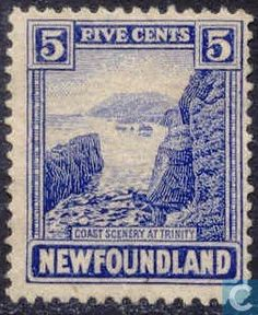 Canada ( Newfoundland ) Stamp 1923 - Coast of Trinity Canadian Identity, Stamp Catalogue, Newfoundland And Labrador, Vintage Stamps, Stamp Collecting, Historical Photos, The Rock, Scenery, Stamps