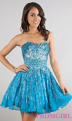 Short Sequin Strapless Dress by Sherri Hill 8524 at PromGirl.com
