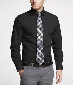Express Mens Modern Fit 1Mx Spread Collar Shirt Black, X Large