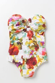 Lenny Niemeyer Mimosa Bandeau Maillot one piece at Anthropologie Looks Style, Style Me, Look Fashion, Fashion Beauty, Woman Fashion, Floral One Piece Swimsuit, Mein Style, Lingerie, The Bikini