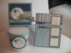 Stampin Up: Pocket Silhouettes. Made into a little gift set complete with candle!