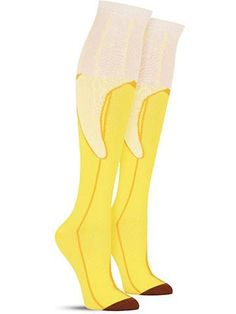 Crazy Top Banana food knee high socks for women, in honey
