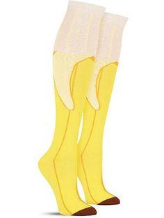 Crazy Top Banana food knee high socks for women, in honey