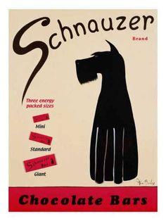 Schnauzer Chocolat Bars  Retro advertising   Vintage poster