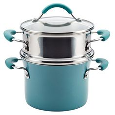 Rachael Ray Cucina Hard Enamel Nonstick Covered Multi-pot Set with Steamer (Agave Blue) (Aluminum) There are some really good cookware sets availble from cooking magic. Tamales, Pot Sets, Cookware Set, Bakeware Sets, Enamel Cookware, No Cook Meals, Kitchen Dining, Kitchen Decor, Porcelain