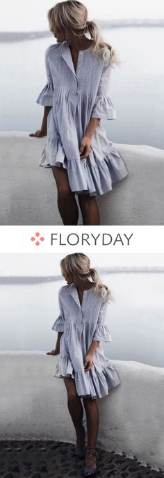 Solid Ruffles 3/4 Sleeves Knee-Length Shift Dress, shift dress, 2018 fashion, new trend, beautiful dress, stylish.