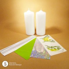 Bastelset Schmetterling gelb - grün Pillar Candles, Candle Holders, Candles, Madness, Wax, Porta Velas, Candlesticks, Candle Stand