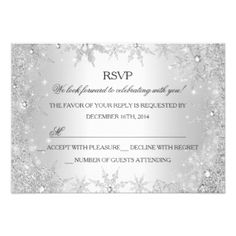 Silver Winter Wonderland Christmas Holiday RSVP 9 Cm X 13 Cm Invitation Card