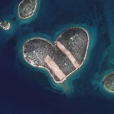 This is a satellite image of Heart Island, Galesnjak, Croatia, collected on Feb. (Photo DigitalGlobe via Getty Images) Croatia Photo Satellite, Croatian Coast, Heart In Nature, Voyager Loin, Lake Photos, Seen, Earth From Space, Aerial Photography, Belle Photo