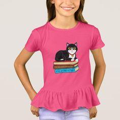 Tuxedo Cat on Books T-Shirt