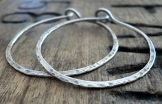 Mangly Hoops - Handmade. Hammered. Oxidized Sterling Silver Hoop Earrings. $20.00, via Etsy.