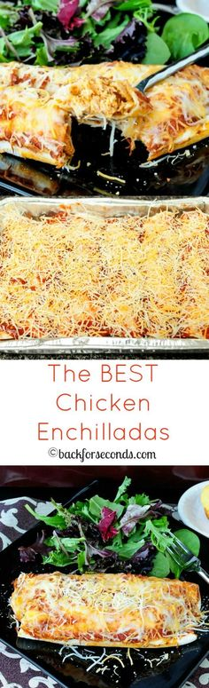 BEST Chicken Enchiladas - creamy, cheesy and a family favorite!The BEST Chicken Enchiladas - creamy, cheesy and a family favorite! Slow Cooker Recipes, Crockpot Recipes, Chicken Recipes, Cooking Recipes, I Love Food, Good Food, Yummy Food, Tasty, Mexican Dishes