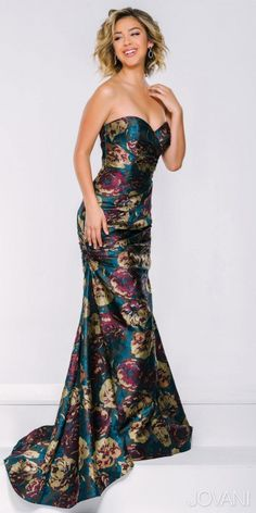 Printed Taffeta Evening Dress by Jovani #edressme