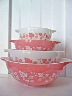 Pink stacking bowls-