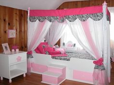 Modern Canopy Bed For Teenage Girl With Drapes Unique shape enignum modern mantra canopy bed design ideas Incredible canopy bed with curtains for small room How to Build a Canopy Bed for Your Bedroom, Bedroom Inspiration Design, Bedroom Design Trends 2017 Princess Beds For Girls, Princess Canopy Bed, Dream Rooms, Dream Bedroom, Girls Bedroom, Bedroom Ideas, Awesome Bedrooms, Cool Rooms, Beautiful Bedrooms