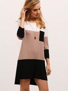 Kleid mit Kontrastfarben und Taschen - schwarz und weiß