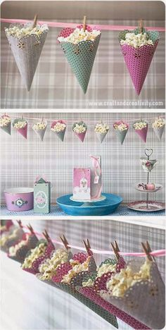 DIY Popcorn cones – cute way to decorate and serve at your party…OR storage in play room. DIY Popcorn cones – cute way to decorate and serve at your party…OR storage in play room. Birthday Party Decorations, Party Favors, Birthday Parties, Popcorn Decorations, Shower Favors, Christmas Decorations, Party Snacks, Vintage Decorations, Birthday Crafts
