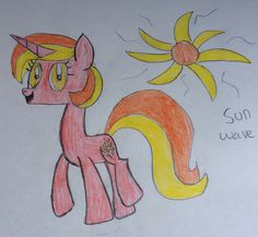 Sun wave is a bright , funny pony who love to play outside with her best friend Midnight.. She one of princess celestia's students and she LOVE cats.. 60 bits to adopt.