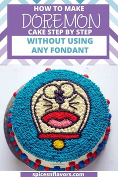 Learn how to make Doraemon Cake tutorial using only Whipped Cream without any Fondant in a step by step manner. This cartoon cake design is perfect for kids birthday or party. Fairly easy to make even a beginner baker can attempt making it. Make Your Own Cartoon, Doraemon Cake, Decorating Tips, Cake Decorating, Character Cakes, Elegant Cakes, Cake Tutorial, Whipped Cream, Fondant