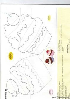 "cupcake applique template for ""building"" cupcakes Applique Templates, Applique Patterns, Applique Quilts, Applique Designs, Embroidery Applique, Owl Templates, Felt Patterns, Sewing Patterns, Foam Crafts"