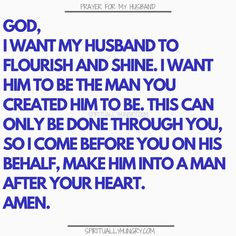 for my husband is something that we should always be doing as it helps us to see our husband with fresh eyes. Keep your marriage on track and your appreciation for your hubby in check with these prayers. Prayer for family is always a very good thing! Marriage Prayer, Godly Marriage, Godly Relationship, Faith Prayer, Marriage Tips, Happy Marriage, Love And Marriage, Relationships, Couples Prayer
