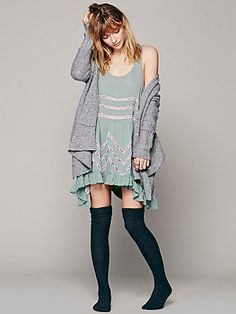 """Free People Voile and Lace Trapeze Slip in 'hazy teal combo' - """"Sheer dotted slip dress with lace inset throughout. Ruffled hem."""""""