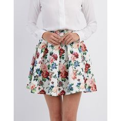 Charlotte Russe Print Skater Skirt ($21) ❤ liked on Polyvore featuring skirts, floral, skater skirt, a line flared skirt, knee length a line skirt, floral skater skirt and flower print skirt